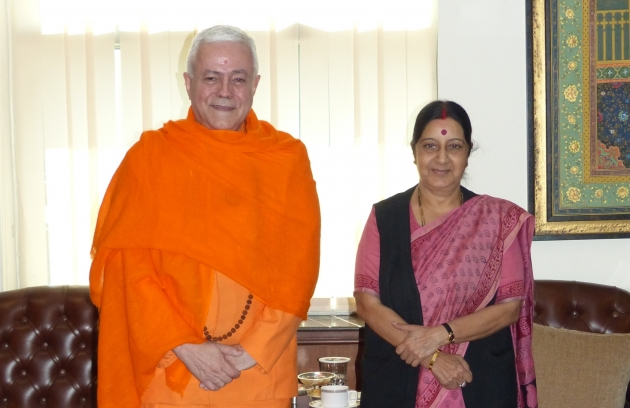 Entretien avec la Ministre de Affaires Extérieures de l'Inde - Smt. Sushma Swaraj - Inde - 2015, mars