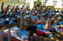 Aula do Yoga Sámkhya para 150 Crianças - Lisboa, Praia Campo da Junta de Freguesia de Alvalade - 2016, Julho, 13
