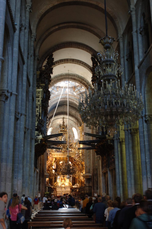 Dentro da Catedral de Santiago de Compostela