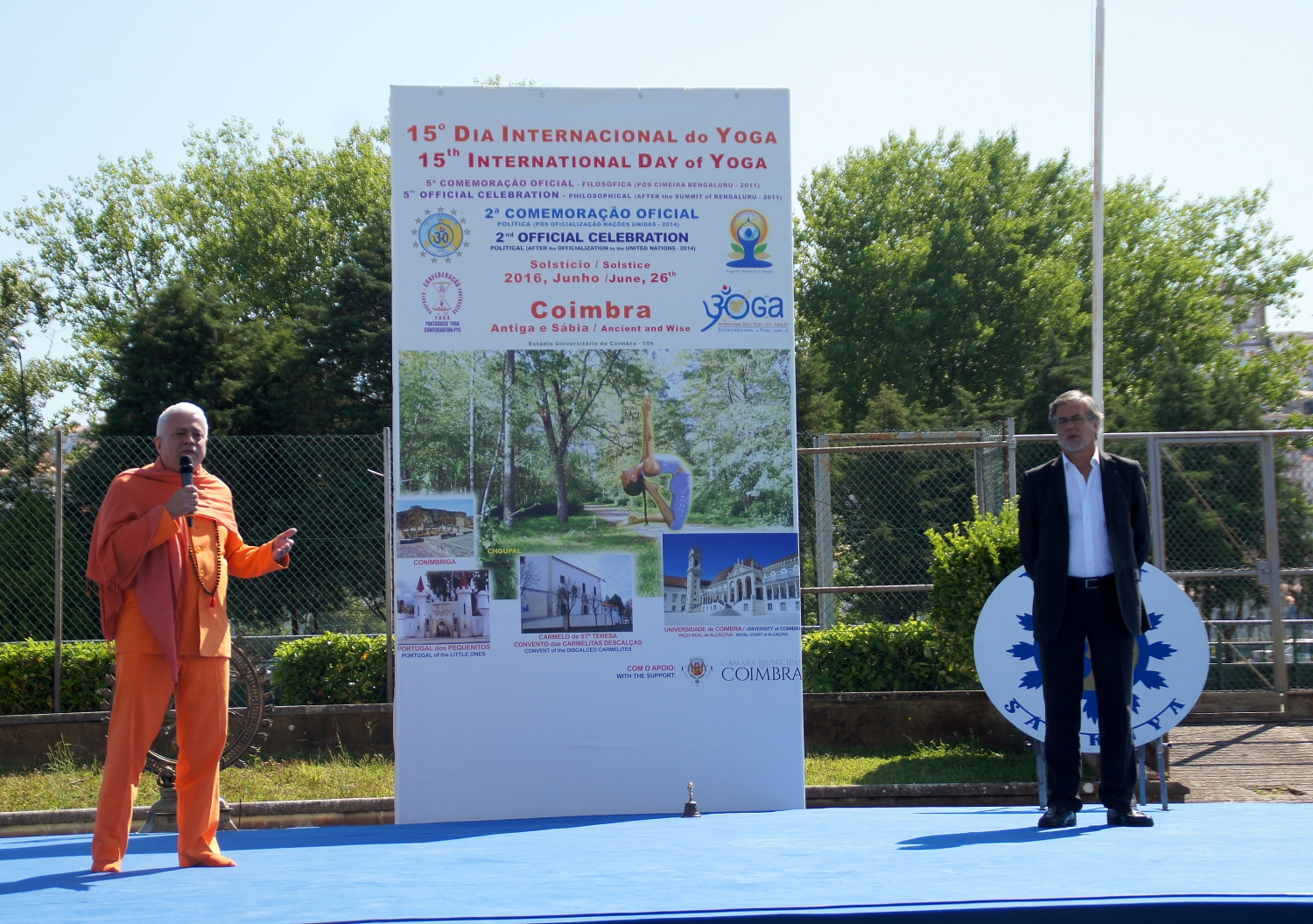 Speech by H.H. Jagat Guru Amrta Súryánanda Mahá Rája / International Yoga Grand Master Jorge Veiga e Castro and by the Councillor for Sports of the City of Coimbra, Carlos Cidade
