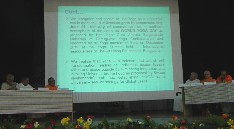 Cerimónia de encerramento e confirmação da Proclamação do Dia Internacional do Yoga na Cimeira de Bengaluru