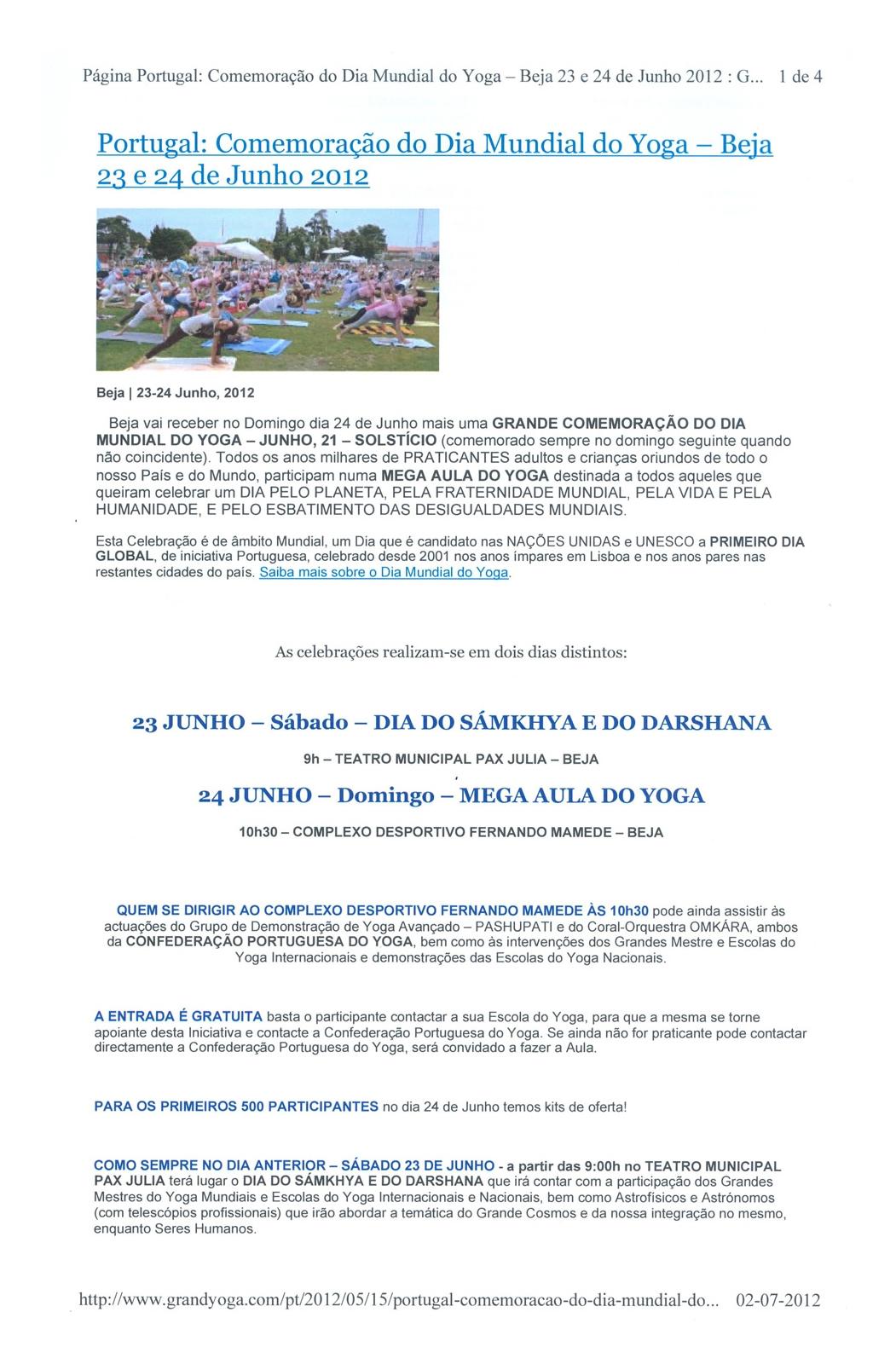 Imprensa - Dia Mundial do yoga 2012