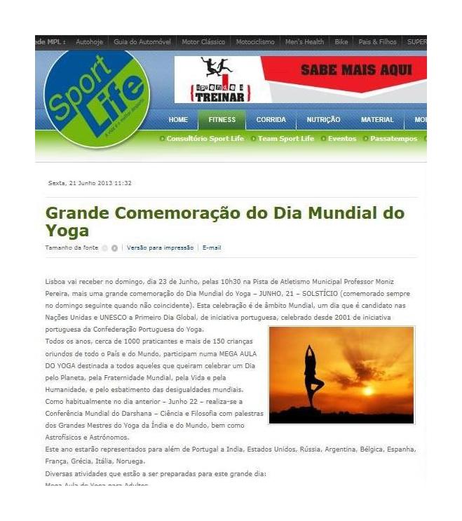 Imprensa - Dia Mundial do yoga 2013