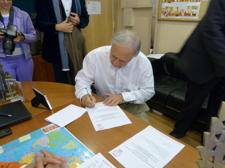 Visita do Sr. José Carp – Presidente da Comunidade Israelita de Lisboa e do Rabino Eliezer Di Martino - na Sede da Confederação Portuguesa do Yoga, Lisboa – 2013