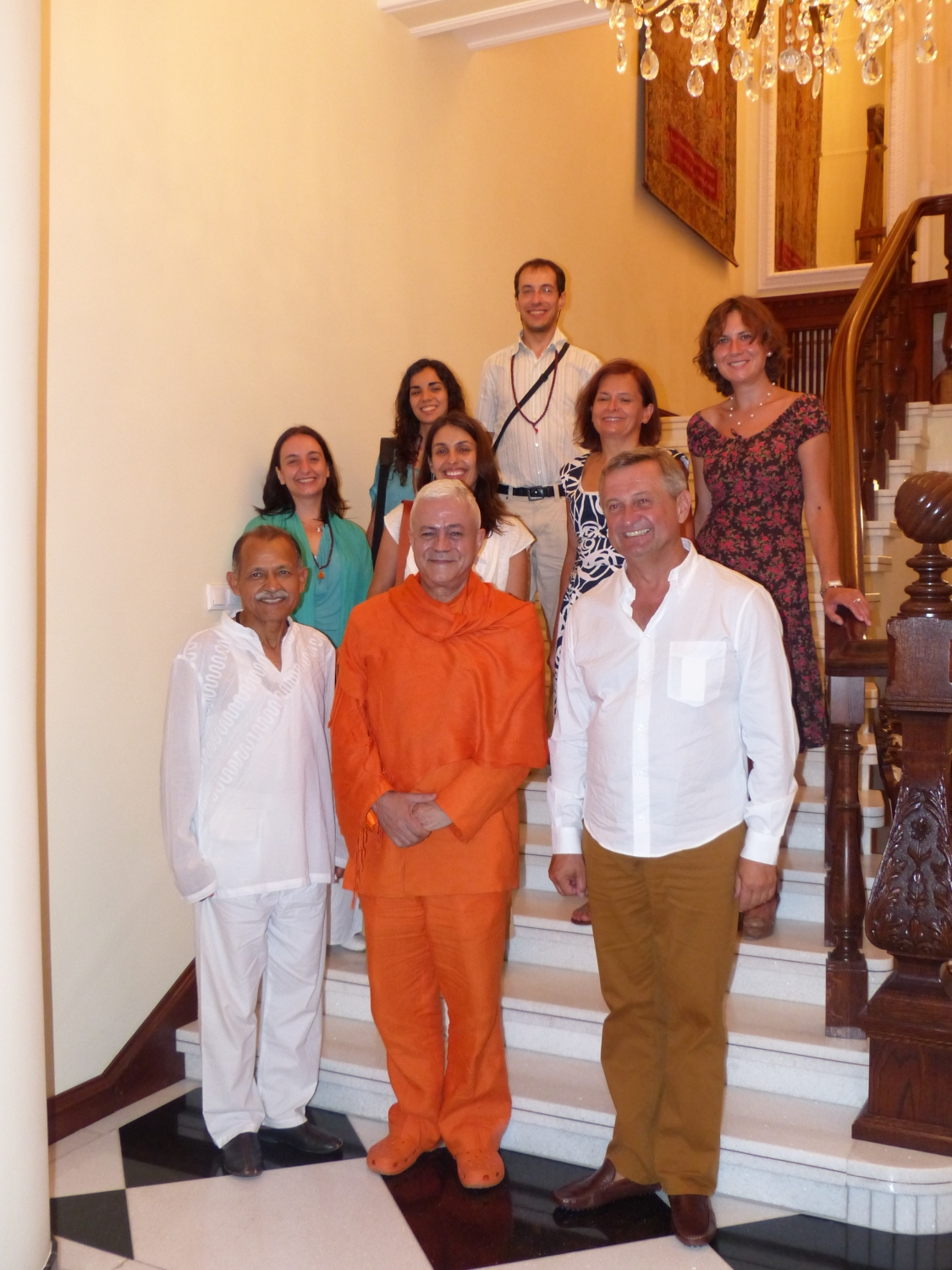 Meeting of H.H. Jagat Guru Amrta Sūryānanda Mahā Rāja with Shrí Chandra Mohan Bhandari - Former Ambassador of India - Poland, Sulisław - 2013, July