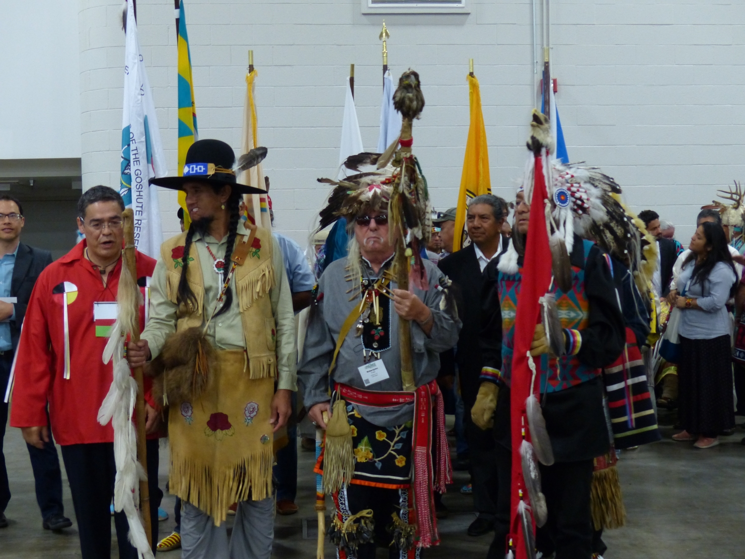 Parade of flags at the Opening Plenary Session led by Native American Indians